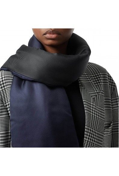 Burberry London Unisex Blue Black Silk Quilted Scarf