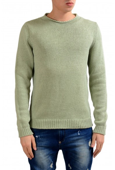 Malo Men's Green Silk Cashmere Crewneck Heavy Knitted Sweater