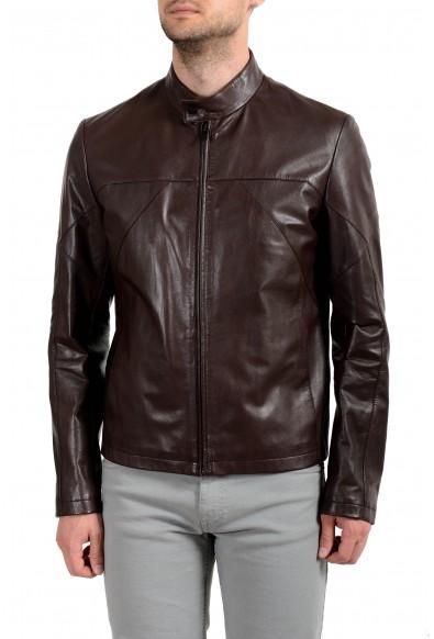 "Hugo Boss ""Lutger"" Men's 100% Leather Dark Brown Full Zip Jacket"