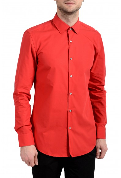 """Hugo Boss """"C-Jenno"""" Men's Red Slim Long Sleeve Dress Shirt"""
