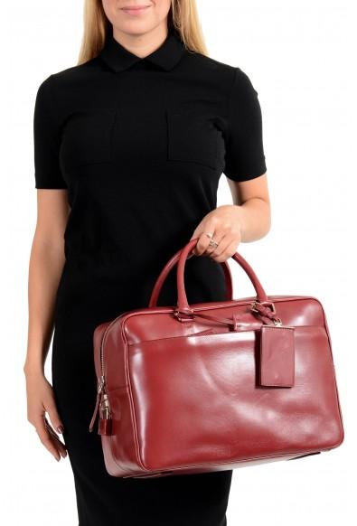 Prada Women's Cherry Red Leather Travel Satchel Handbag Bag: Picture 2