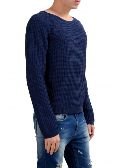 Malo Men's Blue Heavy Knitted Boat Neck Sweater: Picture 2