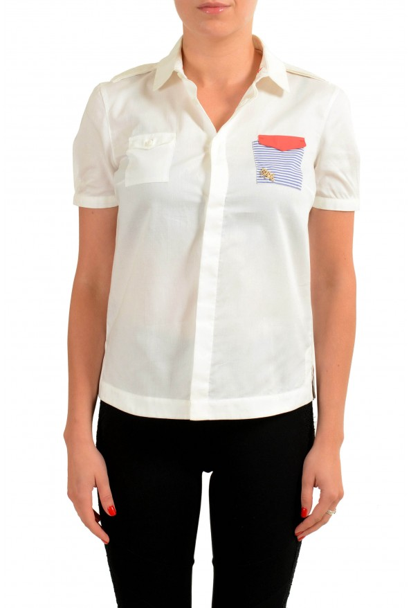 Dsquared2 White Short Sleeve Button Front Women's Shirt
