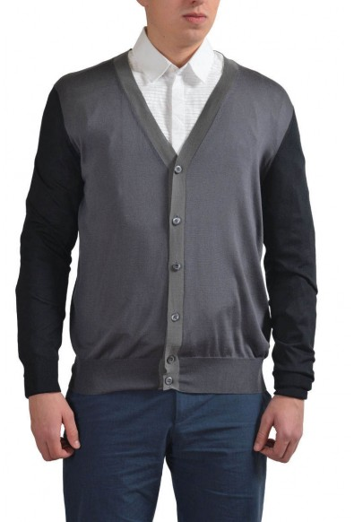 Prada Men's Multi-Color 100% Silk Button Down Cardigan Sweater