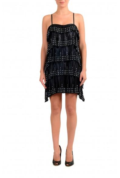 Just Cavalli Women's Black Leather Metal Studs Decorated Mini Dress