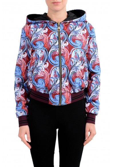 Versace Women's Reversible Full Zip Hooded Windbreaker Jacket