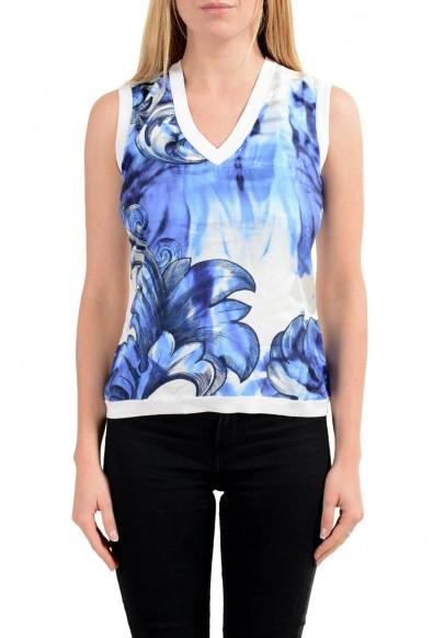 Versace Collection Women's Silk Multi-Color V-Neck Sleeveless Tank Top