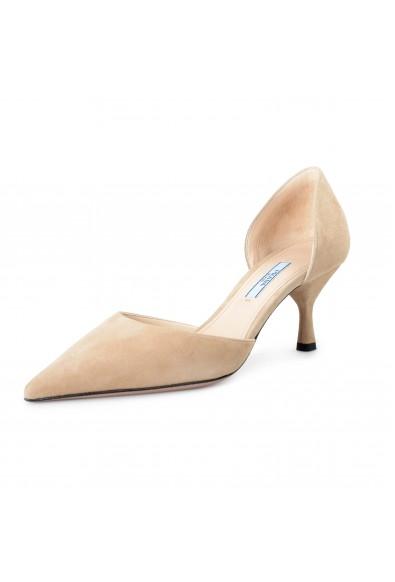 Prada Women's IT240L Beige Suede Leather Pumps Shoes