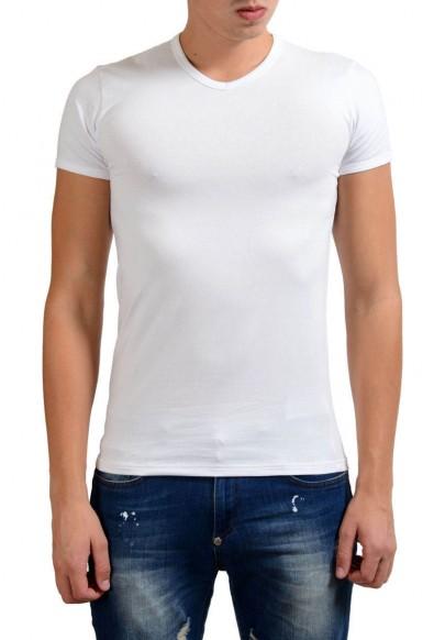Versace Collection Men's White Stretch V-Neck Short Sleeve T-Shirt