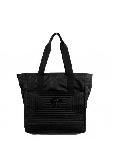Versace Unisex Black Quilted Medusa Tote Shoulder Handbag Bag