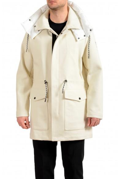 "Hugo Boss Men's ""Creslo"" Wool Ivory Hooded Full Zip Jacket Coat"