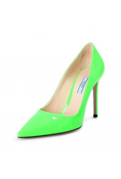 "Prada Women's ""1I834I"" Lime Green Patent Leather High Heel Pumps Shoes"