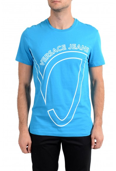 Versace Jeans Men's Blue Graphic Crewneck Short Sleeve T-Shirt