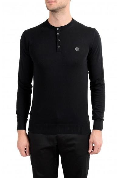 Roberto Cavalli Men's Cashmere Black Henley Sweater