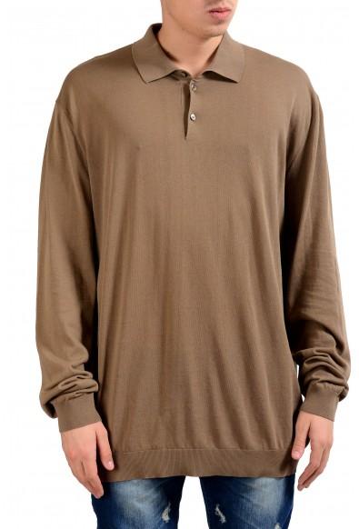 Malo Tortilla Brown Long Sleeve Men's Light Polo Sweater