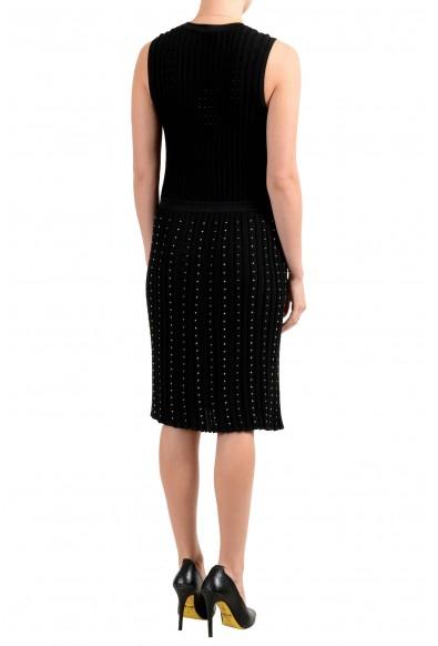 Versace Women's Black Knitted Studded Sleeveless Sheath Dress: Picture 2
