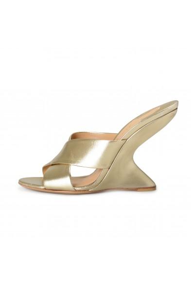 "Salvatore Ferragamo Women's ""ALCAMO"" Gold Leather Mules Wedges Sandals Shoes: Picture 2"