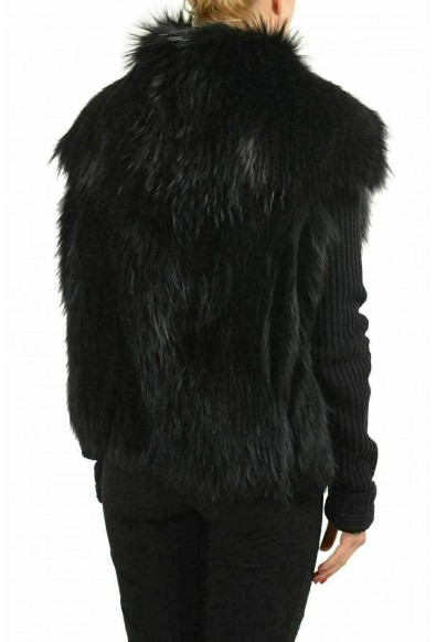 Versace Women's Wool Raccoon Fur Black Button Up Knitted Jacket: Picture 2