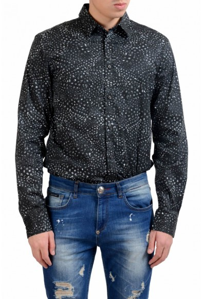 Just Cavalli Men's Stretch Button-Front Print Casual Shirt