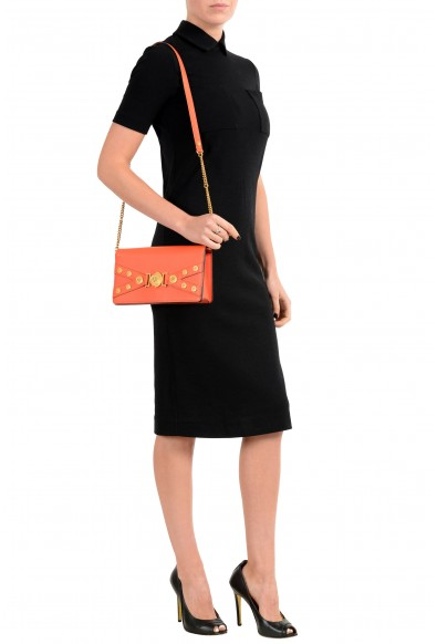 Versace Women's Tribute Orange Leather Clutch Shoulder Bag: Picture 2