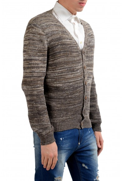 Malo Men's Linen Silk Brown Cardigan Sweater: Picture 2