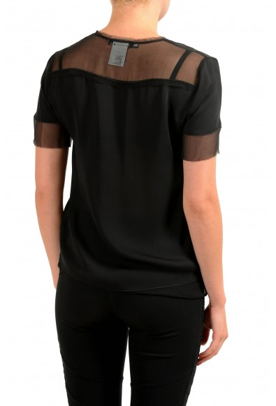 Dsquared2 100% Silk Black Short Sleeve Women's Blouse Top: Picture 2