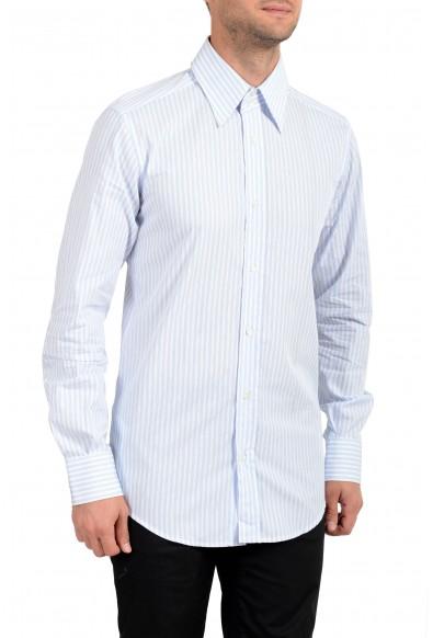 Dolce & Gabbana Men's White & Blue Striped Long Sleeve Button Down Dress Shirt