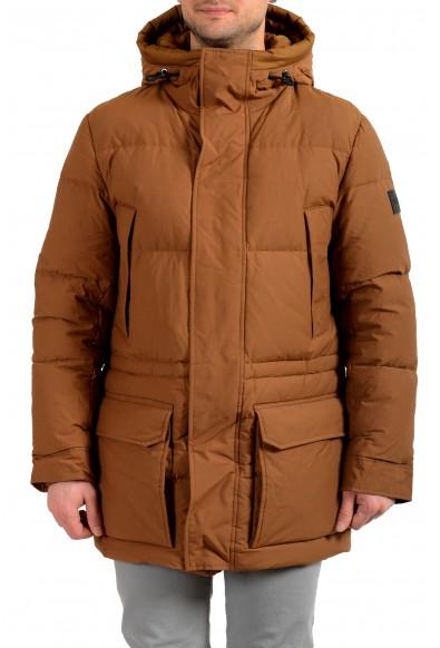 "Hugo Boss Men's ""Domerios"" Brown Hooded Long Down Parka Jacket"