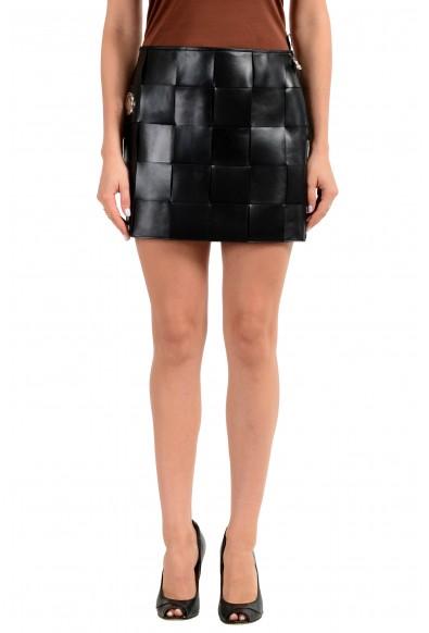 Versus by Versace Women's 100% Leather Black Mini Skirt