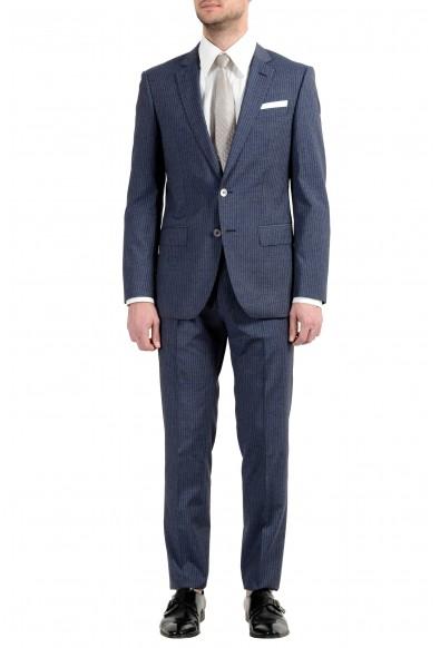 "Hugo Boss ""Hutson5/Gander3"" Men's Silk Wool Slim Striped Blue Two Button Suit"