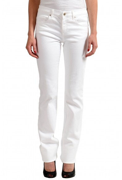 Versace Jeans White Women's Embellished Straight Leg Denim Jeans