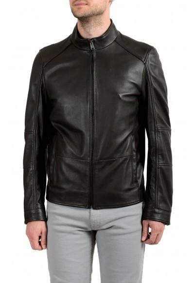 "Hugo Boss ""Nikas"" Men's 100% Leather Dark Brown Full Zip Jacket"