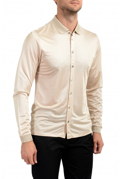 Malo Men's 100% Silk Beige Long Sleeve Casual Shirt: Picture 2