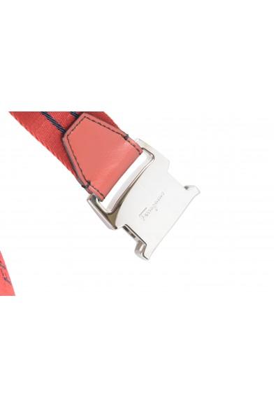 Salvatore Ferragamo Men's Red Canvas Leather Trimmed Belt: Picture 2