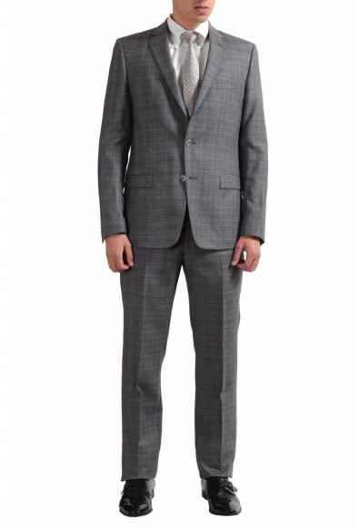 Versace Collection Men's 100% Wool Plaid Gray Two Button Suit
