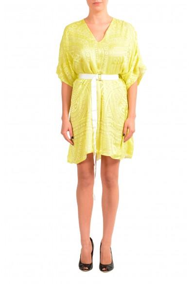 Just Cavalli Women's Yellow Silk Deep V-Neck Belted Dress