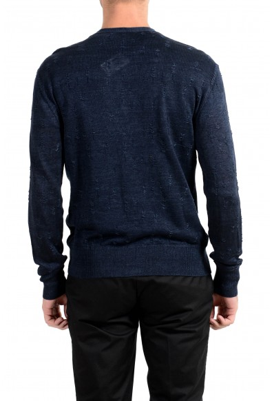John Varvatos Men's 100% Linen Navy Blue Cardigan Sweater: Picture 2