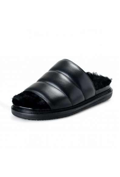 "Marni Women's ""Fusbett"" Leather Sheepskin Slides Sandals Shoes"