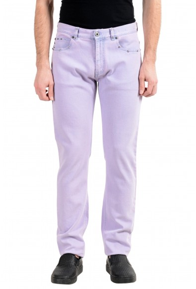 Versace Men's Faded Purple Taylor Fit Stretch Slim Jeans