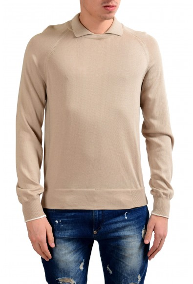 Malo Men's Beige Crewneck Polo Looking Pullover Sweater