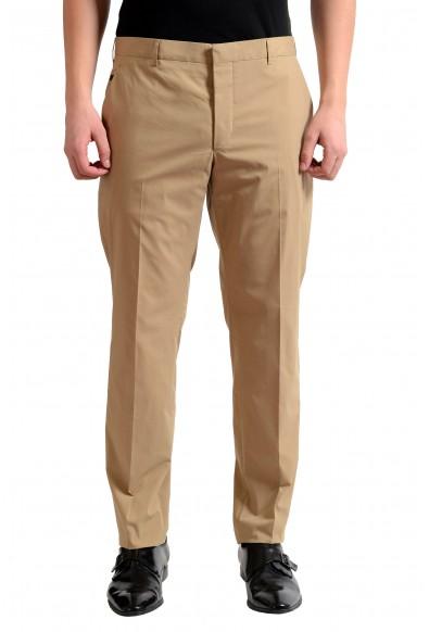 Prada Men's Beige Flat Front Dress Pants