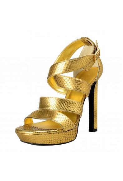 Saint Laurent Women's Python High Heels Platform Sandals Shoes
