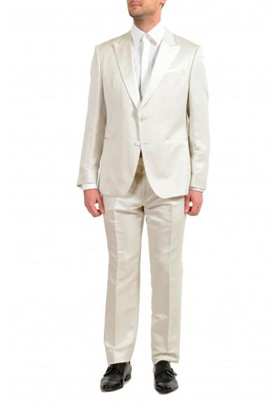 """Hugo Boss """"Helward3/Gelvin_1"""" Men's Linen Silk White Slim Tuxedo Two Button Suit"""