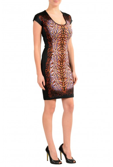 Just Cavalli Black Graphic Cap Sleeeve Women's Stretch Sheath Dress: Picture 2