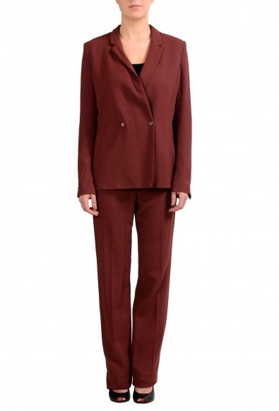 "Hugo Boss ""Jaftina"" Women's Burgundy Wool Double Breasted Pant Suit"
