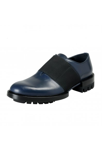Versace Men's Navy Blue Leather Loafers Slip On Shoes
