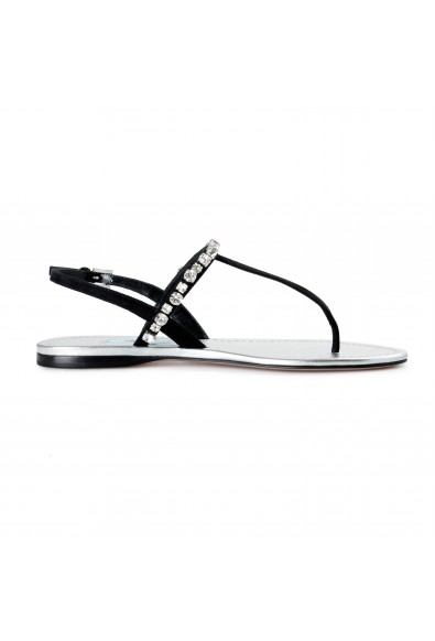 Prada Women's Black Beaded Suede Leather Sandals Shoes: Picture 2