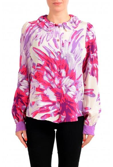 Just Cavalli Women's Multi-Color Floral 100% Silk Blouse Top