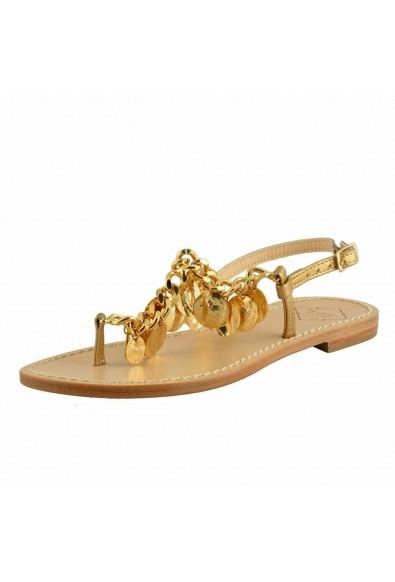 "Emanuela Caruso ""Capri"" Women's Golden Flat Sandals Shoes"