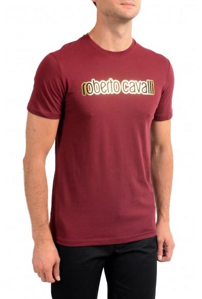 Roberto Cavalli Men's Burgundy Graphic Print Crewneck T-Shirt : Picture 2